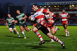 Gloucester Winger (#11) Shane Monahan runs in his third try of the game during the second half of the match - Photo mandatory by-line: Rogan Thomson/JMP - Tel: Mobile: 07966 386802 15/12/2012 - SPORT - RUGBY - Kingsholm Stadium - Gloucester. Gloucester Rugby v London Irish - Amlin Challenge Cup Round 4.
