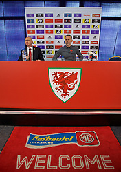 BRIDGEND, WALES - Tuesday, November 5, 2019: Wales manager Ryan Giggs (R) and head of public affairs Ian Gwyn Hughes (L) during a press conference at Nathaniel Cars in Bridgend to announce his squad for the final UEFA Euro 2020 Qualifying Group E qualifying matches against Azerbaijan and Hungary. (Pic by David Rawcliffe/Propaganda)