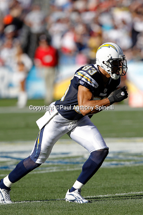 San Diego Chargers wide receiver Vincent Jackson (83) goes out for a pass during the NFL week 14 football game against the Kansas City Chiefs on Sunday, December 12, 2010 in San Diego, California. The Chargers won the game 31-0. (©Paul Anthony Spinelli)