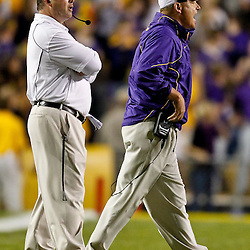 November 13, 2010; Baton Rouge, LA, USA; LSU Tigers head coach Les Miles on the field during the second half of a game  against the Louisiana Monroe Warhawks at Tiger Stadium. LSU defeated Louisiana-Monroe 51-0.  Mandatory Credit: Derick E. Hingle