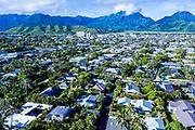 Aerial photograph of Kailua town, Oahu, Hawaii