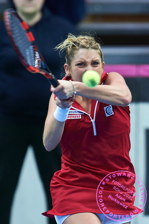 Timea Bacsinszky from Switzerland  competes during the Fed Cup / World Group Play Off tennis match between Poland and Switzerland on April 18, 2015 in Zielona Gora, Poland<br /> Poland, Zielona Gora, April 18, 2015<br /> <br /> Picture also available in RAW (NEF) or TIFF format on special request.<br /> <br /> For editorial use only. Any commercial or promotional use requires permission.<br /> <br /> Adam Nurkiewicz declares that he has no rights to the image of people at the photographs of his authorship.<br /> <br /> Mandatory credit:<br /> Photo by &copy; Adam Nurkiewicz / Mediasport