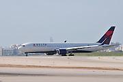 Israel, Ben-Gurion international Airport Delta Air lines passenger jet ready for takeoff