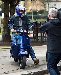 © Licensed to London News Pictures. 16/03/2016. London, UK. Celebrity chef JAMIE OLIVER riding his scooter In Westminster on the day that George Osborne announced a sugar tax in his budget. Photo credit: Ben Cawthra/LNP