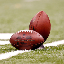 November 6, 2011; New Orleans, LA, USA;A detailed view of NFL footballs on the field prior to kickoff of a game between the New Orleans Saints and the Tampa Bay Buccaneers at the Mercedes-Benz Superdome. Mandatory Credit: Derick E. Hingle-US PRESSWIRE