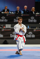 November 10, 2018 - Madrid, Madrid, Spain - Damian Quintero of Spain figth for the gold medal and win the tournament of male Kata tournament during the Finals of Karate World Championship celebrates in Wizink Center, Madrid, Spain, on November 10th, 2018. (Credit Image: © AFP7 via ZUMA Wire)