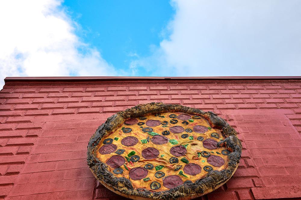 Pizza sign at Luigi's Restaurant.