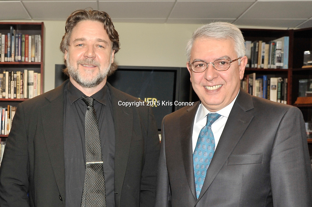 "Serdar Kilic, Ambassador of Turkey and Russell Crowe pose for a photo during the DC premiere of ""The Water Diviner"" at the Burke Theater at the U.S. Navy Memorial in Washington DC on April 7th, 2015. Crowe visited the nation's capitol to promote the new Warner Bros. Pictures' movie ""The Water Diviner,"" which will be release on April 24th. Photo by Kris Connor for Warner Bros. Pictures"