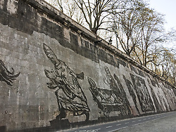 William Kentridge artworks on Tevere rivers in Rome
