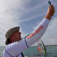 The race director checking the wind speed in Aruba Hi Winds 2012. Aruba Island, July 3-July 9, 2012. International Competition windsurfing and kite surfing. Jimmy Villalta & Valentina Calatrava