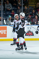 KELOWNA, CANADA - NOVEMBER 10: Tyler Benson #17 and Ty Ronning #7 of the Vancouver Giants celebrate a third period goal against the Kelowna Rockets on November 10, 2017 at Prospera Place in Kelowna, British Columbia, Canada.  (Photo by Marissa Baecker/Shoot the Breeze)  *** Local Caption ***