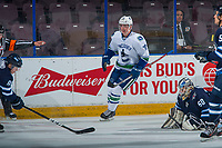 PENTICTON, CANADA - SEPTEMBER 8: Kole Lind #78 of Vancouver Canucks celebrates a goal against the Winnipeg Jets on September 8, 2017 at the South Okanagan Event Centre in Penticton, British Columbia, Canada.  (Photo by Marissa Baecker/Shoot the Breeze)  *** Local Caption ***
