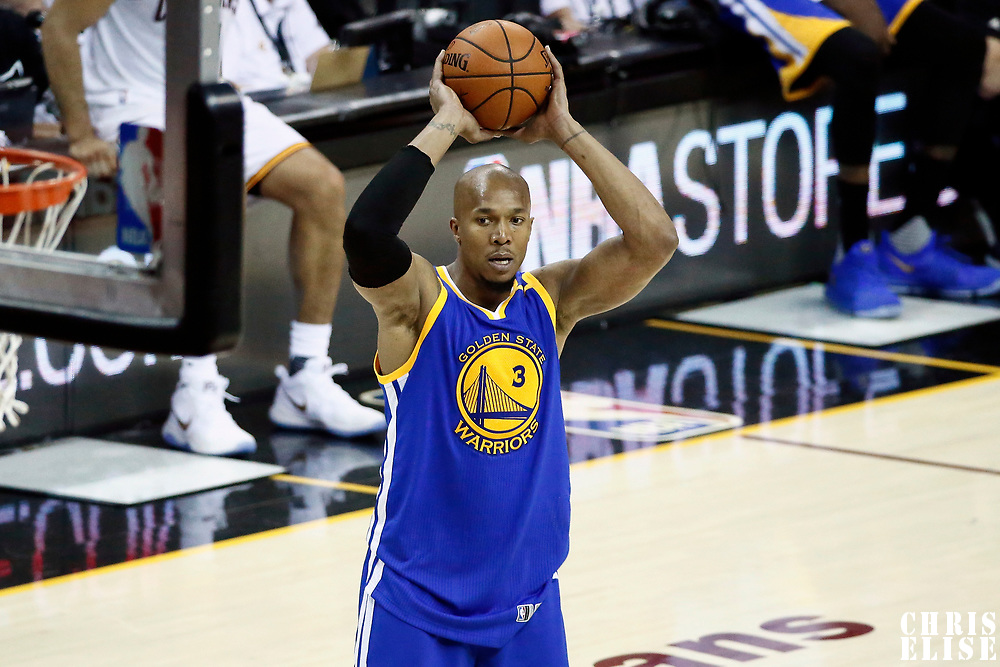 09 June 2017: Golden State Warriors forward David West (3) looks to pass the ball during the Cleveland Cavaliers 137-11 victory over the Golden State Warriors, in game 4 of the 2017 NBA Finals, at  the Quicken Loans Arena, Cleveland, Ohio, USA.