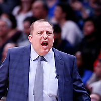 05 April 2018: Minnesota Timberwolves head coach Tom Thibodeau is seen during the Denver Nuggets 100-96 victory over the Minnesota Timberwolves, at the Pepsi Center, Denver, Colorado, USA.