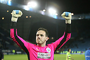 Huddersfield Town goalkeeper, on loan from Liverpool, Danny Ward (1) celebrates during the EFL Sky Bet Championship play off second leg match between Sheffield Wednesday and Huddersfield Town at Hillsborough, Sheffield, England on 17 May 2017. Photo by John Potts.