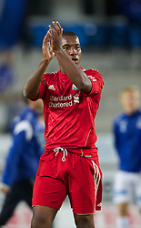 MOLDE, NORWAY - Wednesday, September 7, 2011: Liverpool's Andre Wisdom thanks the Norwegian Liverpool fans after the 4-0 win against Molde after the second NextGen Series Group 2 match at Aker Stadion. (Photo by Vegard Grott/Propaganda).