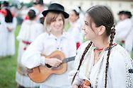 Brodsko kolo, Slavonski Brod, Croatia (9 June 2013). Young woman from Sonta, near Sombor in Vojvodina, Serbia, in traditional folk costume. The Brodsko kolo, now in its 49th year, is the oldest folk dancing festival in Croatia.
