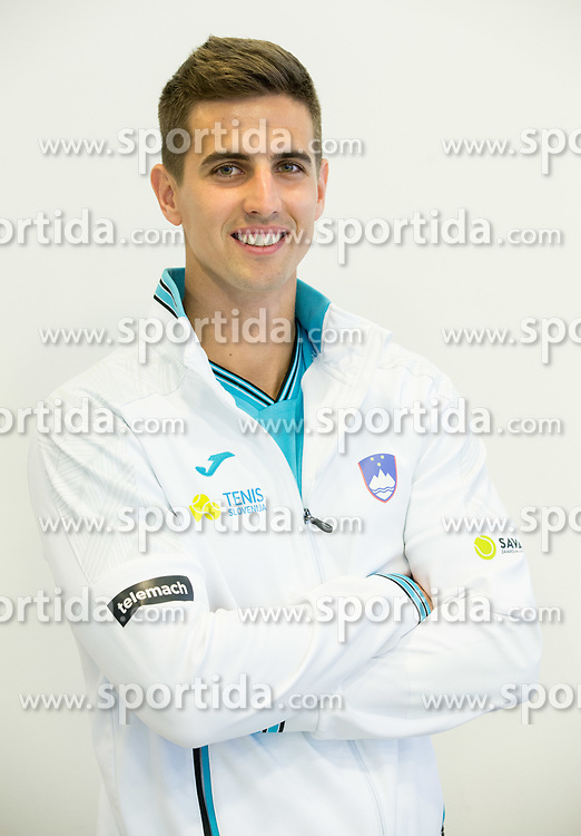 Tilen Zitnik  during press conference of Slovenian National Men Tennis Team before Davis Cup against South Africa Republic, on March 30, 2017 in Ljubljana, Slovenia. Photo by Vid Ponikvar / Sportida