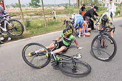 A crash ends the action for Erica Zaveta. She still goes on to finish the stage - Tour of Chongming Island 2016 - Stage 1. A 139.8km road race on Chongming Island, China on May 6th 2016.