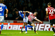 Brentford's Midfielder Alan Judge & City's Midfielder Jacques Maghoma during the EFL Sky Bet Championship match between Brentford and Birmingham City at Griffin Park, London, England on 2 October 2018.