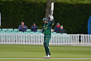 Michael Lumb acknowledges the crowd on reaching fifty (50) during the Royal London 1 Day Cup match between Worcestershire County Cricket Club and Nottinghamshire County Cricket Club at New Road, Worcester, United Kingdom on 27 April 2017. Photo by Simon Trafford.