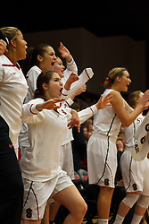 Dec 20, 2011; Stanford CA, USA;  The Stanford Cardinal bench celebrates after a three point basket against the Tennessee Lady Volunteers during the second half at Maples Pavilion.  Stanford defeated Tennessee 97-80. Mandatory Credit: Jason O. Watson-US PRESSWIRE
