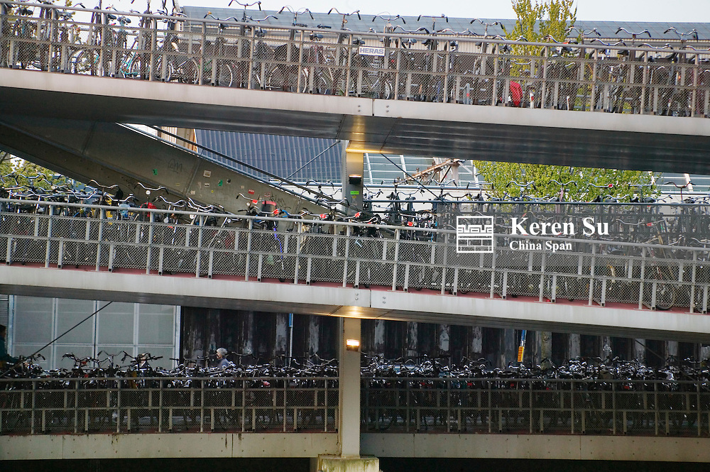 Skybridge parked with bicycles in Central Station, Amsterdam, Netherlands