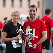 25.08. 2017.                                                      <br /> Almost 200 UL Hospitals Group staff, past and present, and members of the public completed the annual 5k Charity Run/Walk on Friday August 25th in Limerick.<br /> <br /> Pictured are the first female and male staff runners home, Helen Hartigan, Croom and Anthony McMahon.<br /> <br /> <br /> Everybody who participated also raised funds for Friends of Ghana, an NGO formed last year by UL Hospitals Group and its academic partner the University of Limerick to deliver medical training programmes in the remote Upper West Region of Ghana. Picture: Alan Place