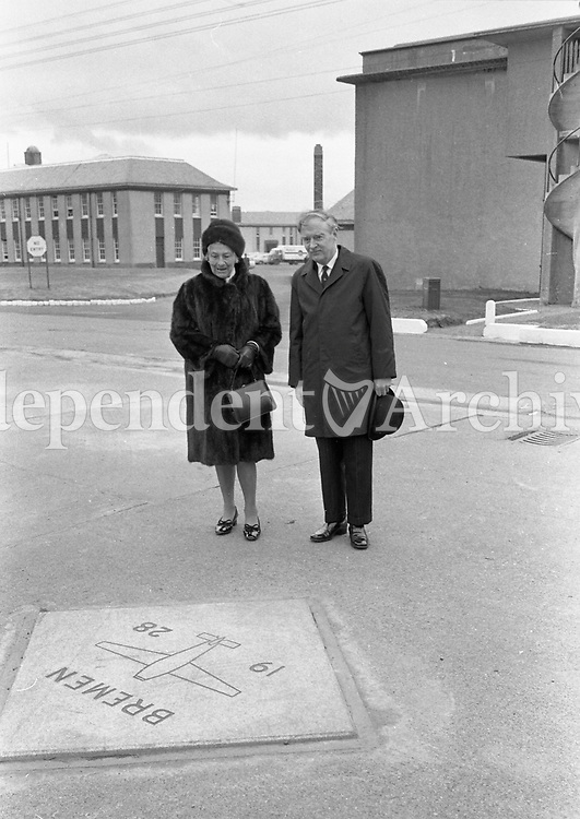 473-220<br /> The Taoiseach Mr. Liam Cosgrave and Frau Glaeser-Koehl, widow of Capt. K&ouml;hl, beside the marble tablet which marks the spot at Casement Aerodrome from which the Bremen started its take-off on 12th April 1928, to successfully fly the Atlantic from east to west for the first time.<br /> Pic: R.S. 12/4/73<br /> The first east-west non-stop transatlantic flight, in April 1928, flew from Baldonnel, Ireland to Greenly Island, Canada, in a Junkers W 33 monoplane, the &quot;Bremen&quot;. The crew of the Bremen were Capt. Hermann K&ouml;hl, Col. James Fitzmaurice and Baron Gunther Von H&uuml;nefeld.<br /> (Part of the Independent Newspapers Ireland/NLI Collection)