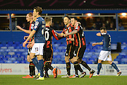 Bournemouth striker Lee Tomlin celebrates the equaliser during the The FA Cup third round match between Birmingham City and Bournemouth at St Andrews, Birmingham, England on 9 January 2016. Photo by Alan Franklin.