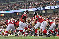 20 January 2013: Quarterback (2) Matt Ryan of the Atlanta Falcons hands the ball off against the San Francisco 49ers during the second half of the 49ers 28-24 victory over the Falcons in the NFC Championship Game at the Georgia Dome in Atlanta, GA.