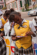 Bahamian school children learn about fire safety in Parliament Square Nassau, Bahamas.