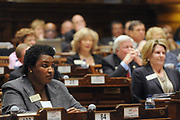 January 24, 2011 - Rep. Stacey Abrams on the floor of the House of Representatives at the Georgia Capitol.