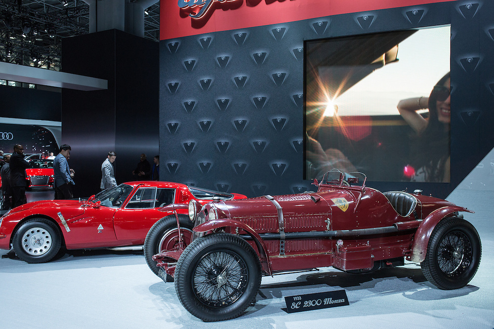 New York, NY - 1 April 2015. An antique 1933 Alfa Romeo 8C 2300 Monza on dislay at the New York International Auto Show. Behind it is a 1965 TZ2.