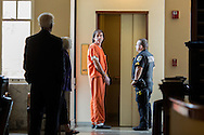 (Gabe Green   The Daily World)<br /> <br /> Gregory Brian Johnson pauses before entering an elevator after his sentencing on Friday.