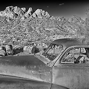 Rusted Chevrolet Fleetline - Eldorado Canyon - Nelson NV - HDR - Infrared Black & White