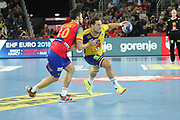 Alex Dujshebaev (Spain) and Mattias Zachrisson (Sweden) during the EHF 2018 Men's European Championship, Final Handball match between Spain and Sweden on January 28, 2018 at the Arena in Zagreb, Croatia - Photo Laurent Lairys / ProSportsImages / DPPI