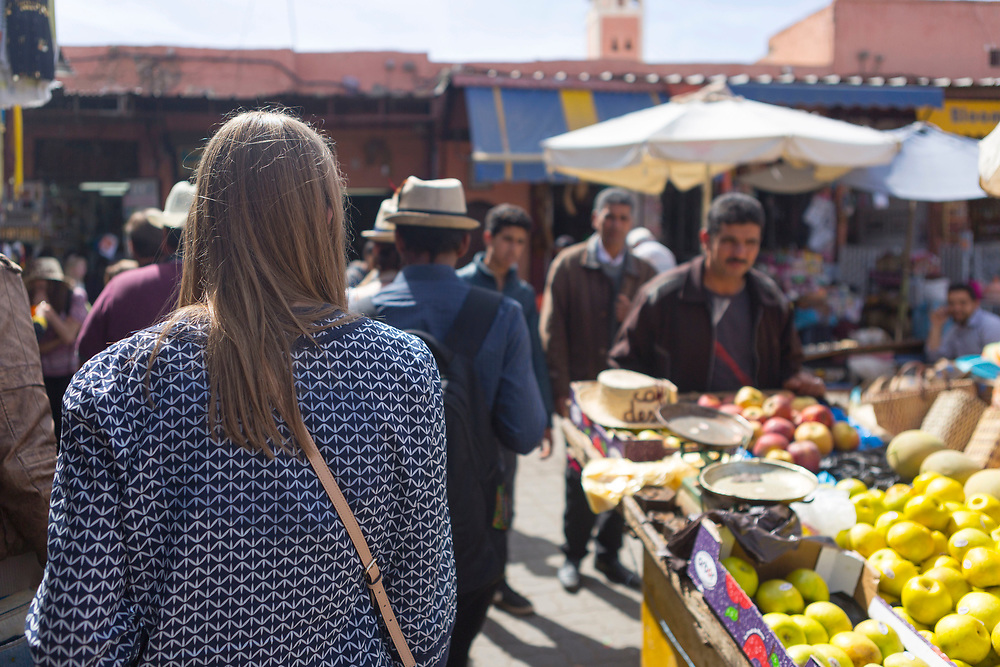 Tourists enjoy a food tour of Marrakech with Marrakech Food Tours, Marrakesh, Morocco, 2016–04-16. <br />