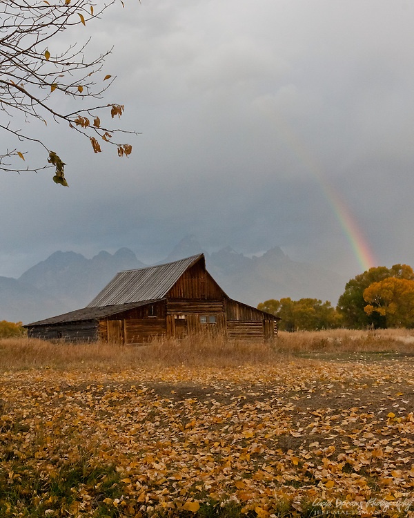 A rainbow forms over Antelope Flats during a morning storm at Moulton Barn in Grand Teton National Park