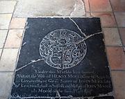 Black marble Tudor grave floor memorial monument, Holy Trinity Church, Long Melford, Suffolk, England, UK