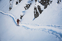 Christopher Smith backcountry skiing in the Wasatch Mountains, Utah.
