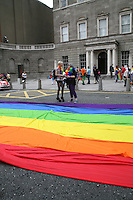Multi-coloured rainbow flag at the Dublin Pride 2012 LGBTQ festival parade Dublin City. Saturday 30th June 2012.