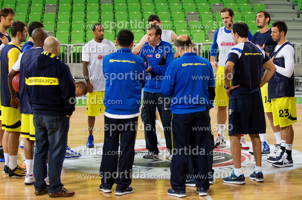 Simone Pianigiani, head coach with players during practice session of Fenerbahce Ulker Istanbul (TUR)  1 day before Euroleague Basketball match against KK Union Olimpija on October 18, 2012 in Arena Stozice, Ljubljana, Slovenia. (Photo By Vid Ponikvar / Sportida)