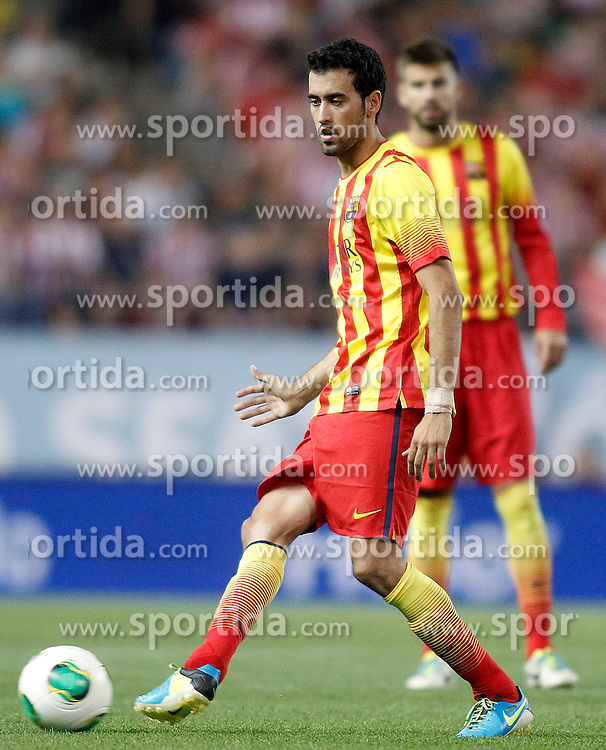 21.08.2013, Estadio Vicente Calderon, Madrid, ESP, Supercup, Atletico Madrid vs FC Barcelona, im Bild FC Barcelona's Sergio Busquets // during during the Spanish Supercup match between Club Atletico de Madrid and Barcelona FC at the Estadio Vicente Calderon, Madrid, Spain on 2013/08/21. EXPA Pictures &copy; 2013, PhotoCredit: EXPA/ Alterphotos/ Acero<br /> <br /> ***** ATTENTION - OUT OF ESP and SUI *****