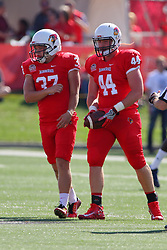 17 September 2016: Seth Combs and Jake Hendershot.  NCAA FCS Football game between Eastern Illinois Panthers and Illinois State Redbirds for the 105th Mid-America Classic on Family Dat at Hancock Stadium in Normal IL (Photo by Alan Look)