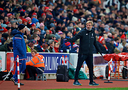 STOKE-ON-TRENT, ENGLAND - Wednesday, November 29, 2017: Liverpool's manager Jürgen Klopp reacts during the FA Premier League match between Stoke City and Liverpool at the Bet365 Stadium. (Pic by David Rawcliffe/Propaganda)