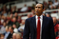 November 18, 2010; Stanford, CA, USA;  Stanford Cardinal head coach Johnny Dawkins on the sidelines during the first half against the Virginia Cavaliers at Maples Pavilion.