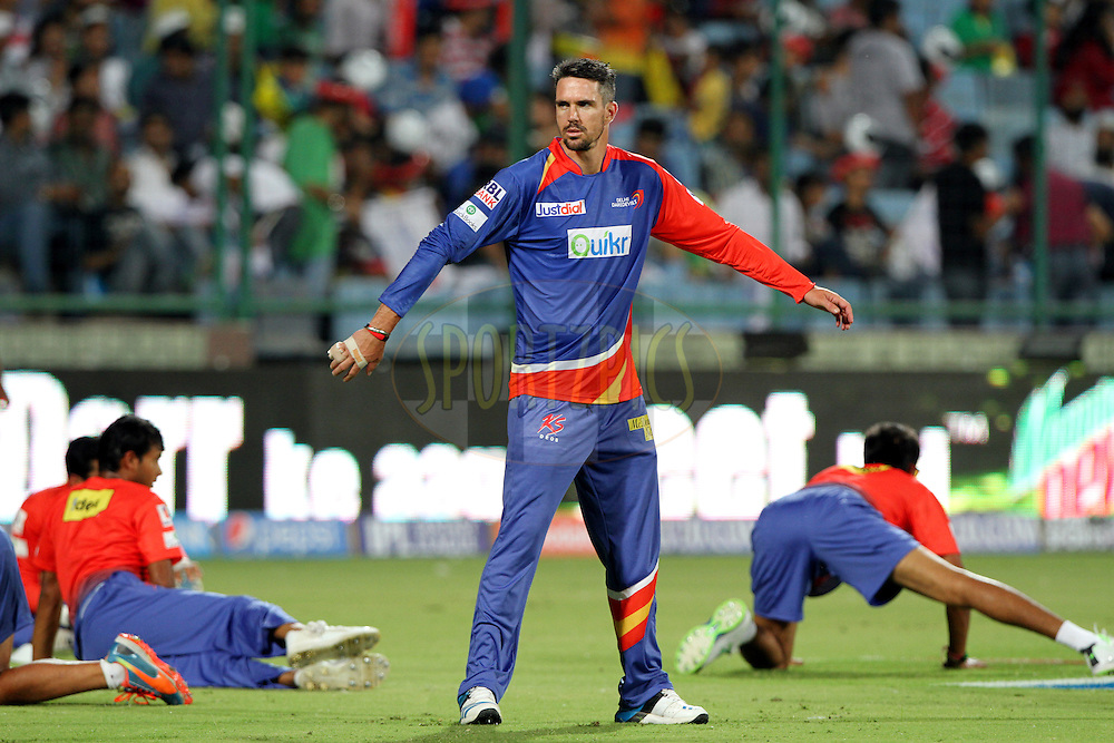 Kevin Pietersen captain of of the Delhi Daredevils  warm up during match 23 of the Pepsi Indian Premier League Season 2014 between the Delhi Daredevils and the Rajasthan Royals held at the Feroze Shah Kotla cricket stadium, Delhi, India on the 3rd May  2014<br /> <br /> Photo by Deepak Malik / IPL / SPORTZPICS<br /> <br /> <br /> <br /> Image use subject to terms and conditions which can be found here:  http://sportzpics.photoshelter.com/gallery/Pepsi-IPL-Image-terms-and-conditions/G00004VW1IVJ.gB0/C0000TScjhBM6ikg