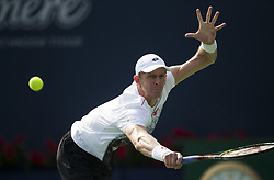 TORONTO, Aug. 12, 2018  Kevin Anderson of South Africa returns a shot to Stefanos Tsitsipas of Greece during the semifinal match of men's singles at the 2018 Rogers Cup in Toronto, Canada, Aug. 11, 2018. Kevin Anderson lost 1-2. (Credit Image: © Xinhua via ZUMA Wire)