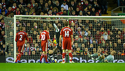 LIVERPOOL, ENGLAND - Friday, December 30, 2011: Liverpool's goalkeeper Jose Reina is helpless to prevent a Demba Ba goal for Newcastle United during the Premiership match at Anfield. (Pic by David Rawcliffe/Propaganda)